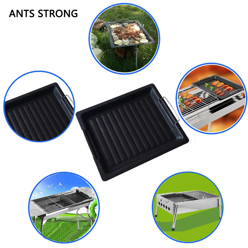 ANTS STRONG Thicken BBQ non stick griddle plate/household outdoor charcoal barbecue plate fry pan grill accessories