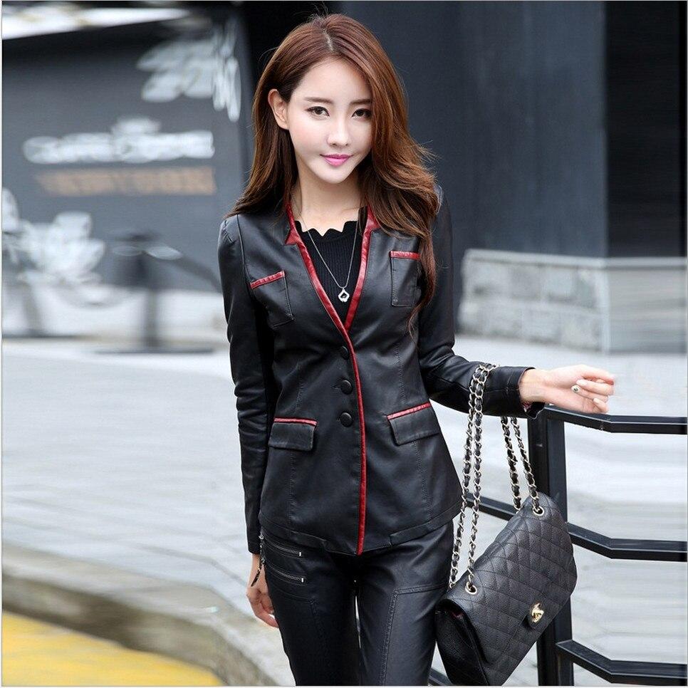 99e134b142e M-5XL Women Leather Jacket Skin Coat Plus Size Fashion Single Breasted  V-neck