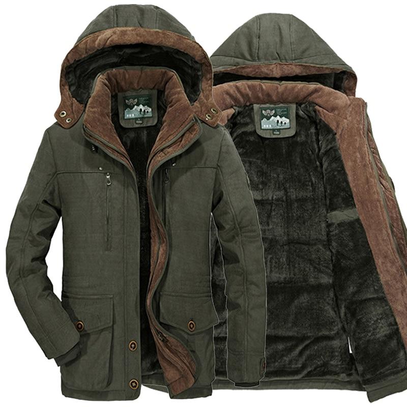 Plus Size L~5XL 6XL Men Winter Fleece Fur Warm Thick Jacket Cotton Soft Military Parka Jacket Men Detachable Hood Coat Jacket