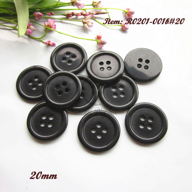 120 шт., плоские черные пуговицы с 4 отверстиями, 20 мм