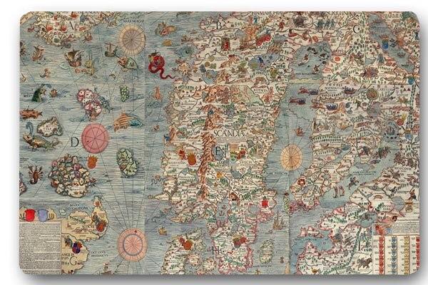 Custom voordeur mat oude europa eilanden kaart antislip keuken