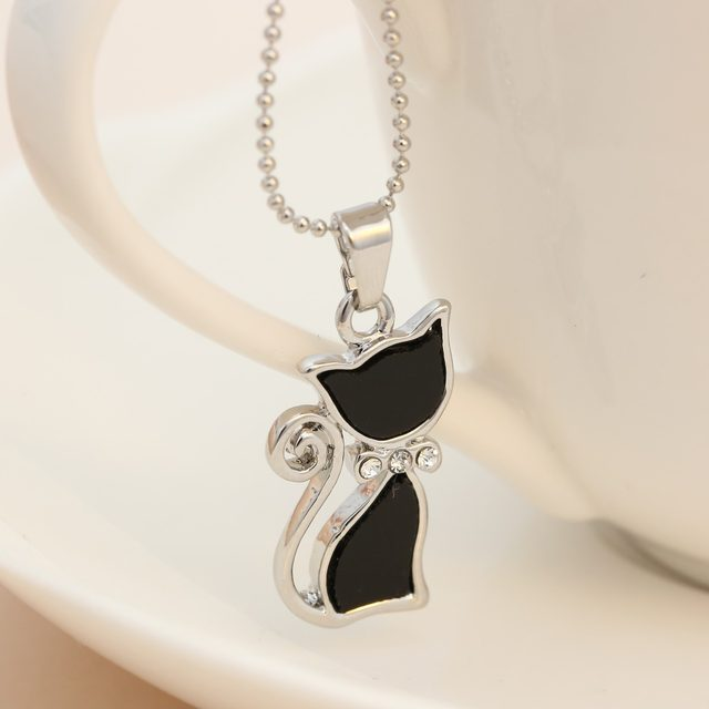 Online shop 2017 silver plated rhinestones crystal cute cat 2017 silver plated rhinestones crystal cute cat pendants necklaces fashion summer choker bowknot necklaces for lady animal black mozeypictures Choice Image