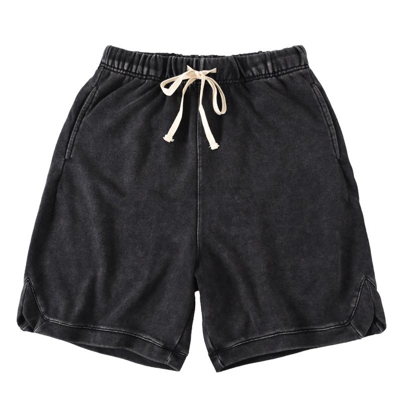 QoolXCWear Men Shorts Cotton Loose Shorts Vintage-Washed Black Shorts Summer Hip Hop Sweat Shorts Streetwear