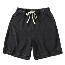 QoolXCWear men Shorts Cotton loose Vintage-Washed Black Summer Hip Hop Sweat Streetwear