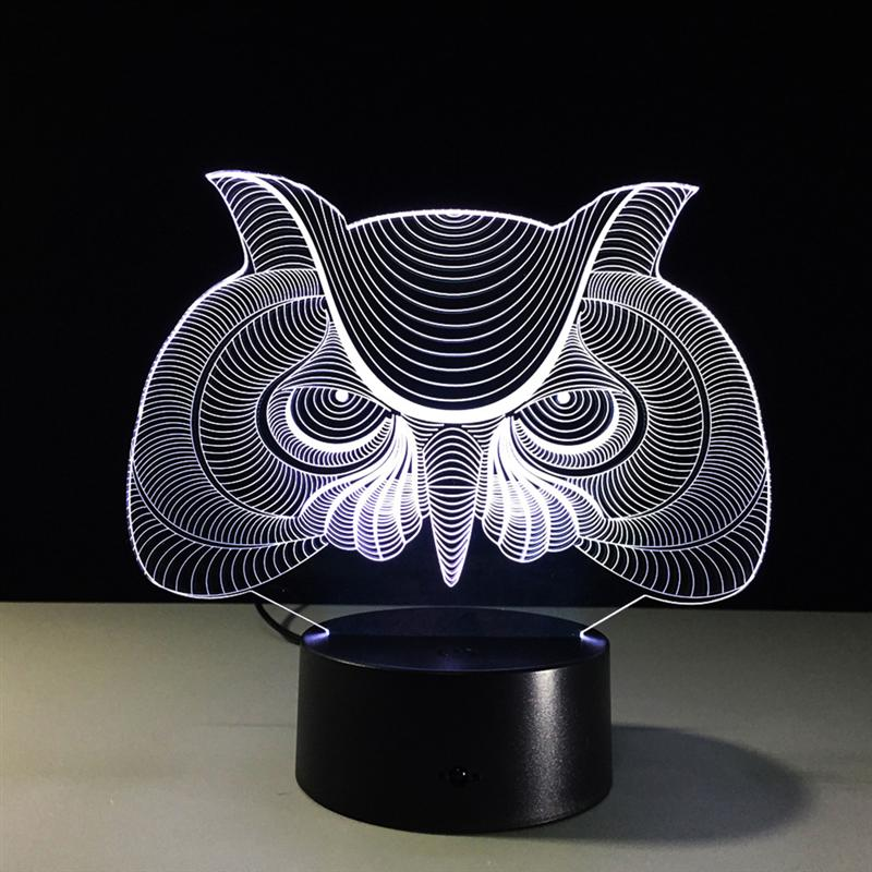 Cartoon Owl Light 3D LED Animal Night Light RGB Changeable Lamp Child Kids Baby Soft Lights Bedroom Decoration Lighting