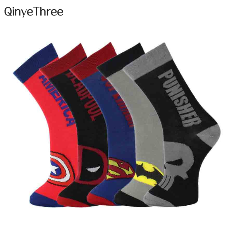 36-43 new Men Harajuku   Socks   Hip Hop Batman Superman SpiderMan Captain America Punisher Deadpool Avengers Short Novelty Sokken