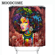 luxury afro women bathroom curtain shower new design 2019  waterproof polyester bath