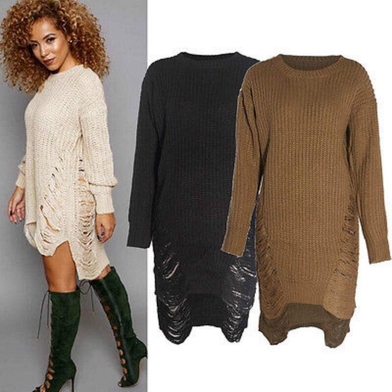 Winter Women Long Knitted Dresses Chunky Sweater Pullover Irregular Dress Size 6-14