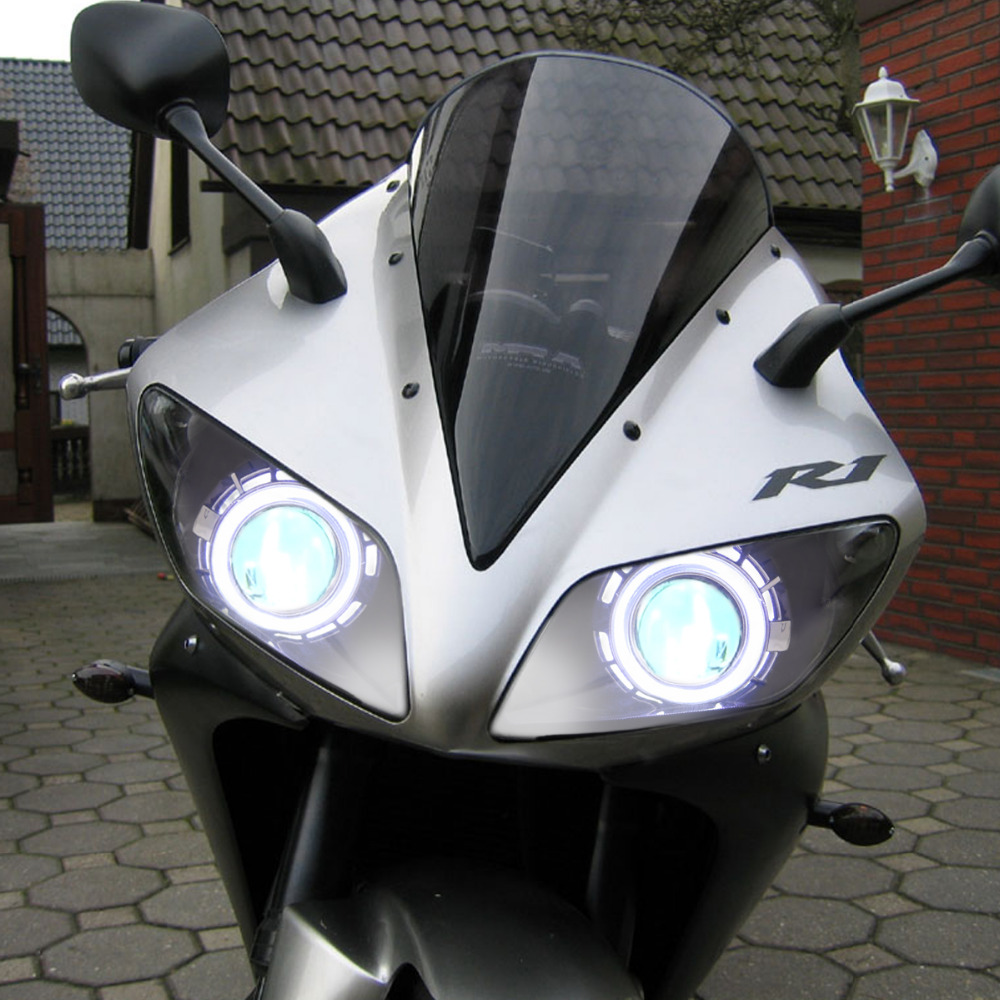 KT Headlight for Yamaha YZF R1 2002 2003 LED Angel Eye Green Demon Eye Motorcycle HID aliexpress com buy kt headlight for yamaha yzf r1 2002 2003 led  at soozxer.org