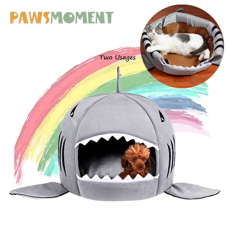 Summer Dog Bed Pet Cat Bed Shark Cats Beds House For Large Medium Small Dogs Pet Beds Puppy Shark Kennel Chihuahua Pets House