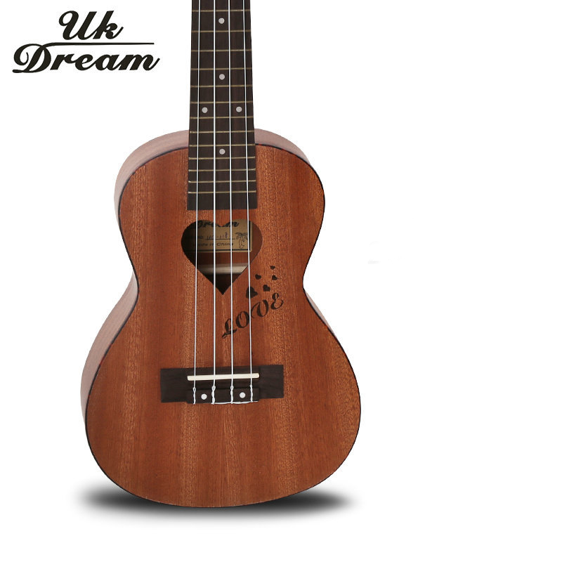 full sapele heart shaped lettering guitar musical stringed instruments wood 4 strings guitar 18 frets ukulele guitar uc 118k new