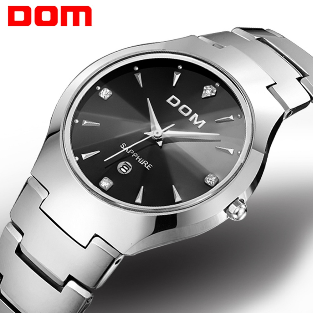 Часы Для мужчин DOM Марка Горячая Спорт Роскошные вольфрамовой стали ремешок на запястье 30 m водонепроницаемый Бизнес кварцевые часы Мода По...