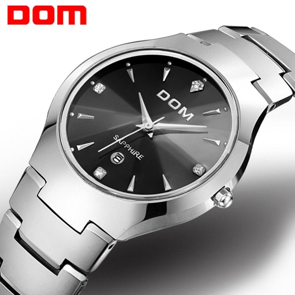 Zegarek męski DOM marka hot sport luksusowe wolframu stali pasek na rękę 30m wodoodporny biznes zegarki kwarcowe moda na co dzień W-698-1M