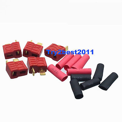 5 Female Gold Plated Grip T Plug Deans Connectors With Heat Shrink5 Female Gold Plated Grip T Plug Deans Connectors With Heat Shrink