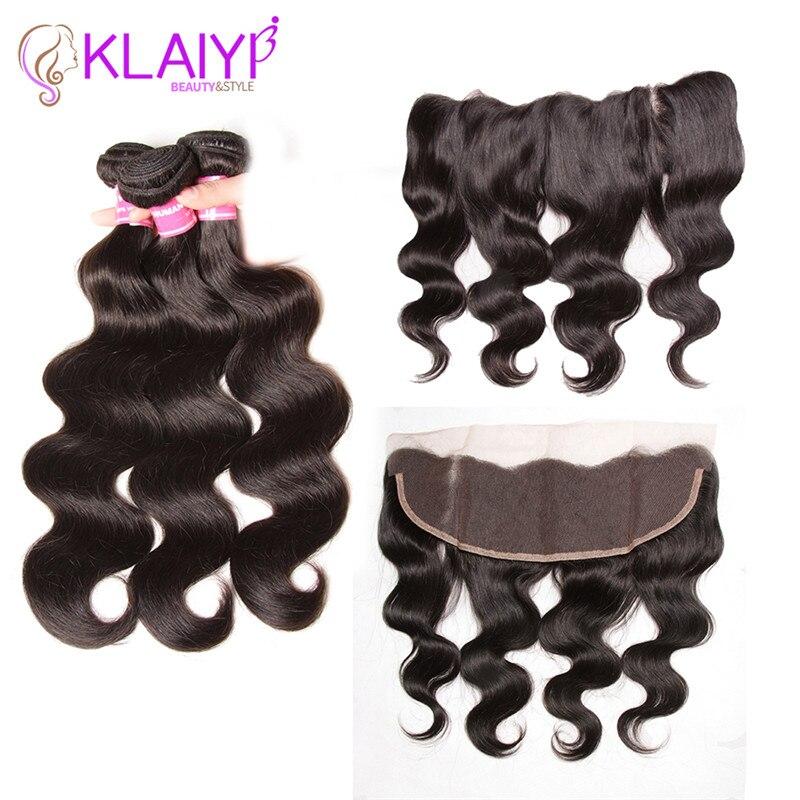 Klaiyi Human Hair 3 Bundles Indian Body Wave Lace Frontal Closure With Bundles Ear To Ear
