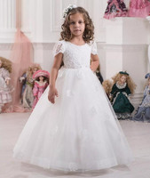 Lace Short Sleeves Ball Gown White Tulle Flower Girl Dresses Vintage Child Pageant Dresses Holy Communion Dresses