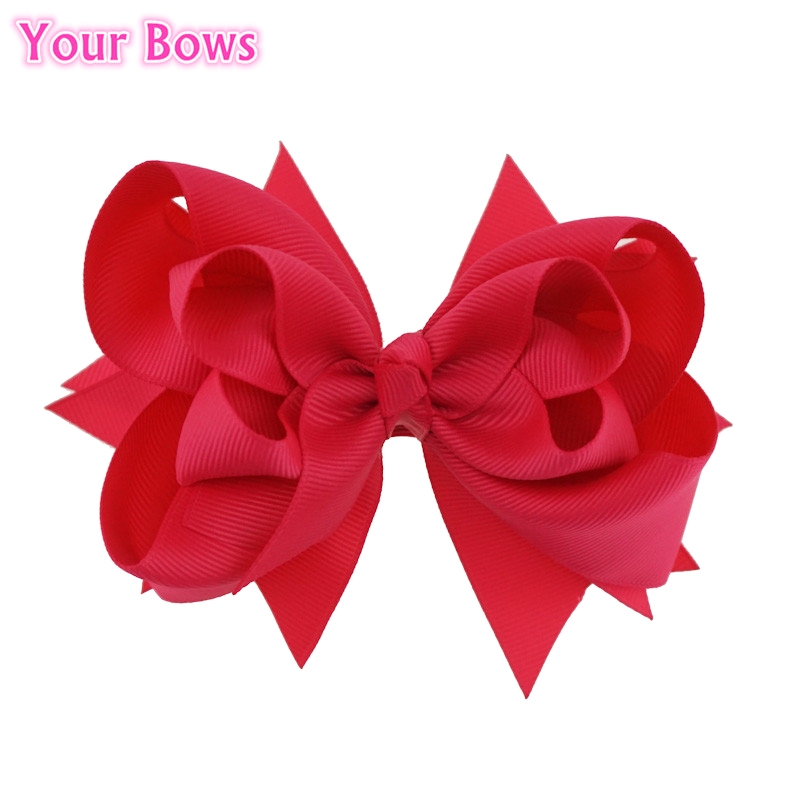 Your Bows 1PC 5inch Kids Hair Bows 3 Layers Solid Shocking Pink Bows Hair Clips Boutique Ribbon Bows For Girls Hair Accessories baci трусики фиолетовые классические шортики из кружева размер xxl xxxl