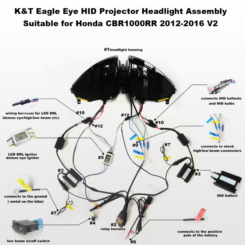 KT Headlight for Honda CBR1000RR 2012 2016 LED Eagle Eye Motorcycle HID Projector Assembly 2013 2014 aliexpress com buy kt headlight for honda cbr1000rr 2012 2016 eagle eye headlight wiring diagram at gsmx.co