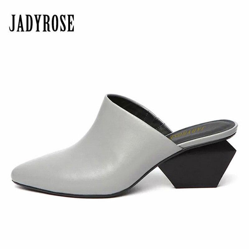 JADY ROSE Summer Slippers Female Gladiator Sandals Pointed Toe Women Sandals 6CM Strange High Heel Slipper Valentine Shoes Woman