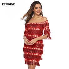 Luxurious Sequin Fringe Tassel Mini Dress Off-shoulder Slash Neck Evening Party Slim Elegant Club Vestidos Red