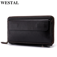 WESTAL Wallet Male Genuine Leather Wallet Men Wallets for Credit Card Man Purses Zipper Card Holder Fashion Long Wallet Bag 9043