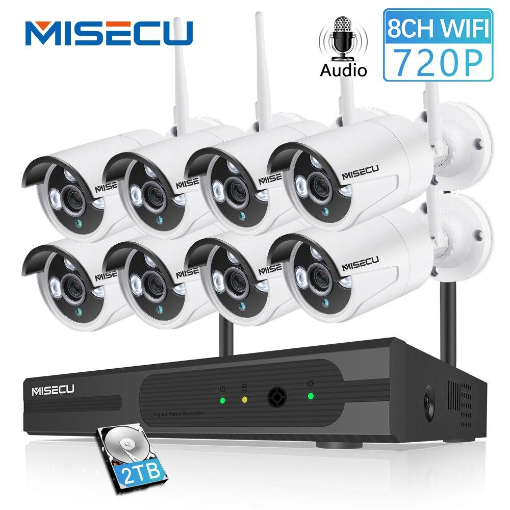 MISECU 8CH 1080 P HDMI WiFi NVR 8 PCS 1.0MP CCTV Sans Fil IP Caméra Audio IR Extérieure de Sécurité de Surveillance système Kit