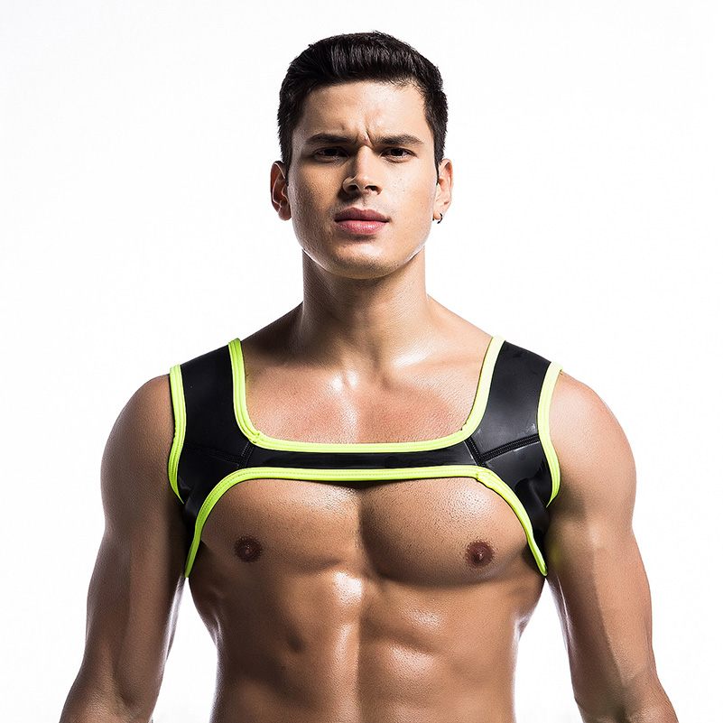 Fitness Men Protective Gear Tank Plus Size Harness Chest Patchwork Shoulder Supports Braces Sexy Solid Neoprene Tops Male 40%W