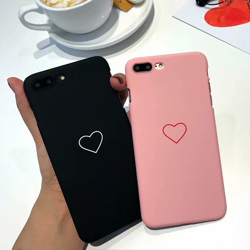KIP7P1178_2_Candy Color Hard Case For iPhone 7 Protective Case For iPhone X iPhone 6 6S 7 8 Plus Couples Love Heart Pattern Back Cover