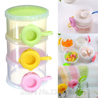 Free Shipping 3 Layer Baby Infant Food Milk Feeding Powder Dispenser Container Travel Storage Box Organizer
