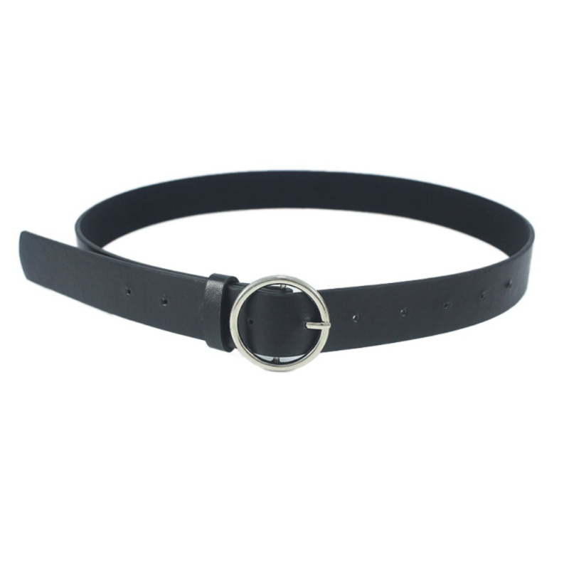 Sexy Leather Punk Harajuku Belt Exaggerated Big Round Buckle Golden Sliver Metal Hoop Belt Strap For Woman Jeans Belt Feminine