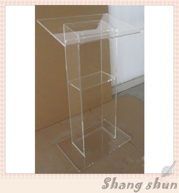 Clear Top Grade Plastic Lectern Large Floor Acrylic Speaker Stand