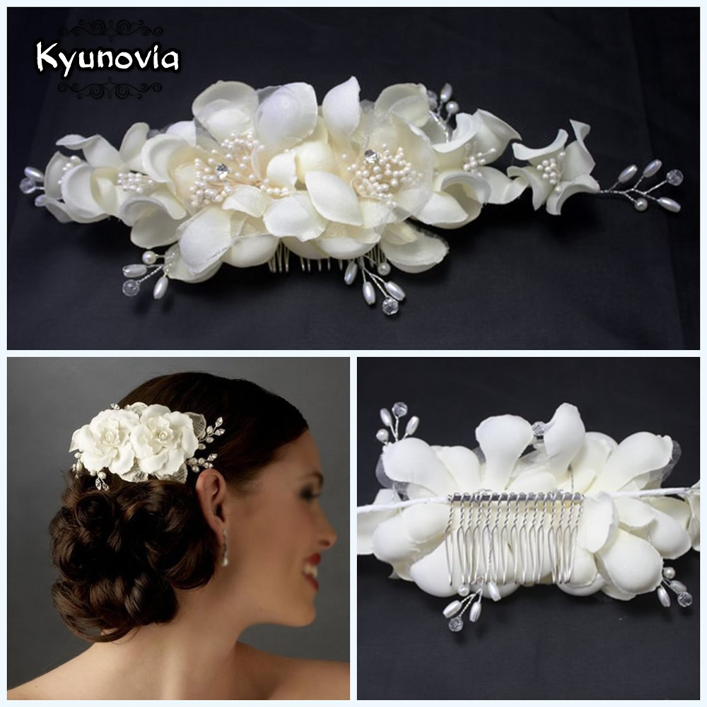 Kyunovia Factory Price High Quality European Style Hand Made Wedding Flower Hat As The Wedding Photos Bride Headwear D17