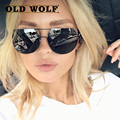 OLD WOLF 2017 New Brand Sunglasses Women And Men Flat top Round Shades Feature Black Lenses and Frame With Gold Accents mj style