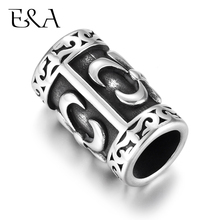 Stainless Steel Slider Tube Beads Blacken Slide Charms Large Hole 8mm Bead for Bracelet DIY Accessories Jewelry Making Supplies