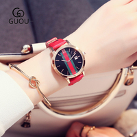 GUOU Simple Red Women Watch With Calendar Leather Strap Rose Gold Case Water Proof Female Clock Ladies Quartz Wristwatches 8082