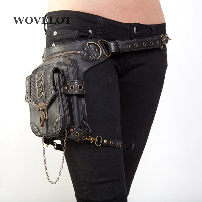 FGGS Leather Unisex Waist Pack Leg Drop Bags Motorcycle Crossbody Messenger Shoulder Belt Bum Hip Purse Pouch Thigh Fanny Bags