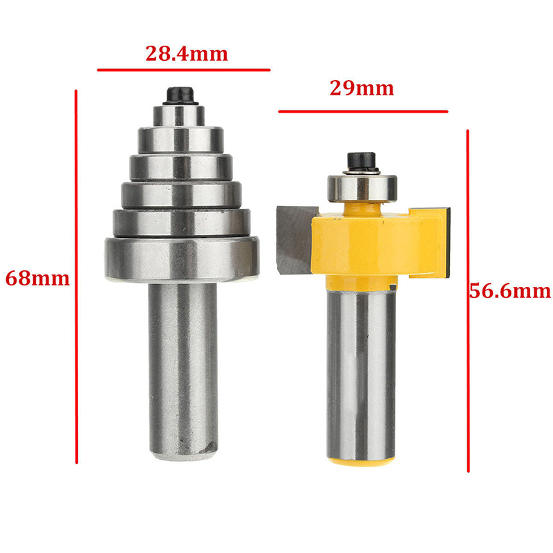1pc 1/2 Shank Carbide Rabbet Router Bit with 6 Bearings Set and Wrench For Woodworking Milling Cutter Power Tools high grade carbide alloy 1 2 shank 2 1 4 dia bottom cleaning router bit woodworking milling cutter for mdf wood 55mm mayitr