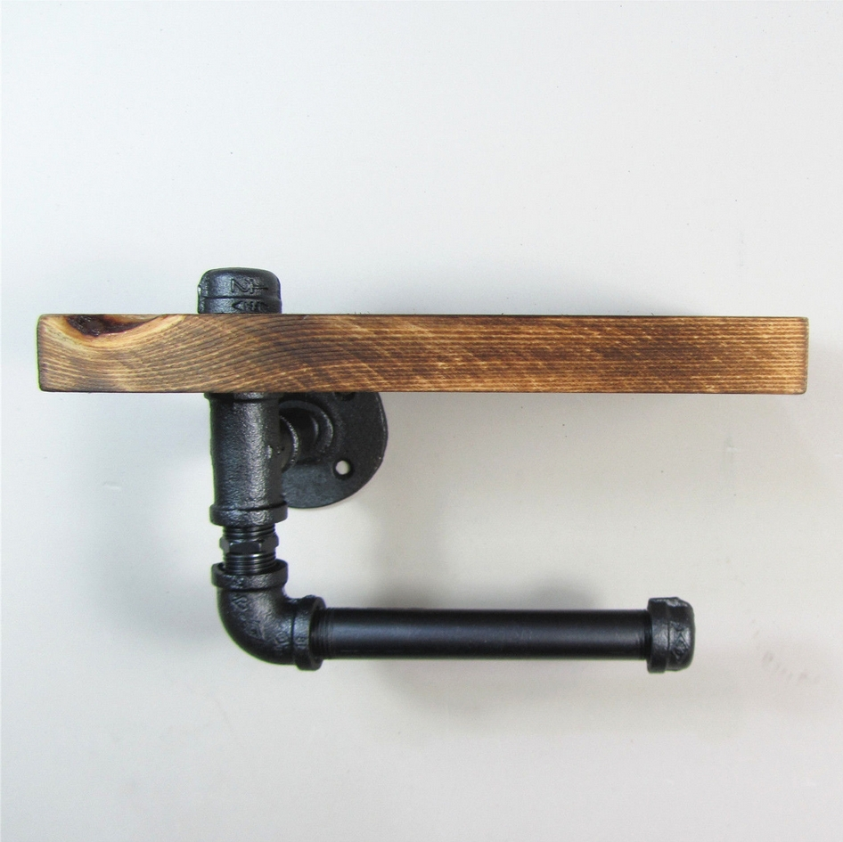 3015cm industrial iron pipe wall mounted toilet paper holder kitchen towel rack roll paper - Wall Mount Toilet