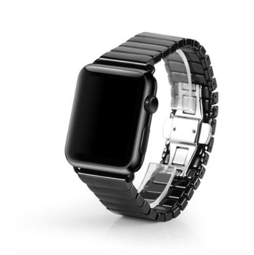 Ceramic Bracelet For Apple Watch Band 42mm 38mm 40mm 44mm Strap Link Bracelet Butterfly Buckle WatchBand For Iwatch 4/3/2/1