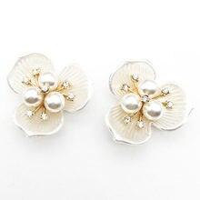 10 Pçs/lote 33mm Liga Strass Botões de Pérola Shell Flor Do Coração Saco de Jóias Acessórios de Noiva Buquê de Flores diy Cabelo Material