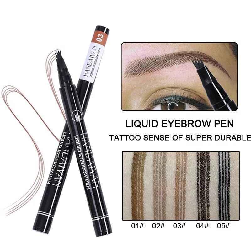 HANDAIYAN גבות עיפרון 4 מזלג מיקרו-גילוף מברשת עמיד למים נוזלי גבות קעקוע עט משפר גוון 4 צבע איפור Maquillaje