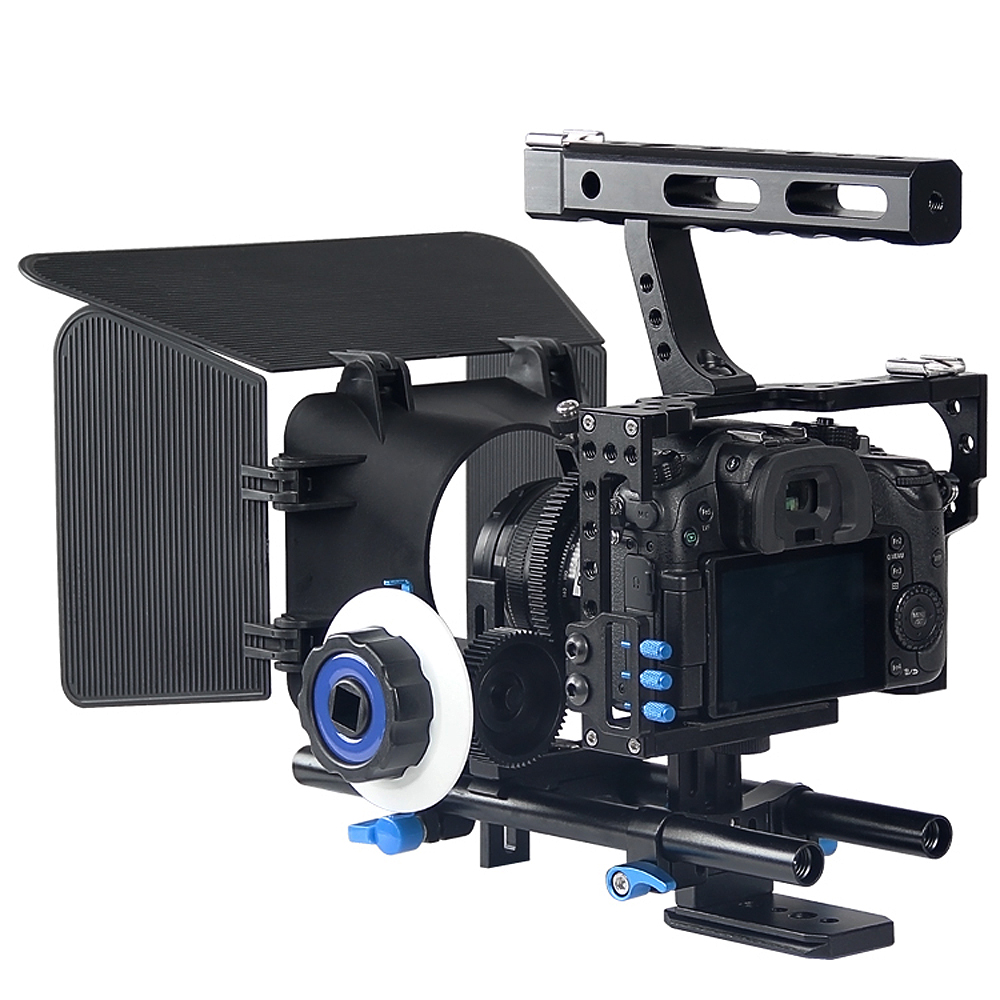 Professional 3 in 1 DSLR Handle Stabilizer Rig Camera Cage Follow Focus Matte Box For Panasonic