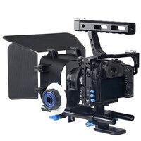 حامل كاميرا مثبت 3 في 1 DSLR احترافي قفص كاميرا + متابعة بؤرة + صندوق غير لامع لباناسونيك DMC GH4 G7/Sony A7 A7S A7SII-في ملحقات استوديو الصور من الأجهزة الإلكترونية الاستهلاكية على