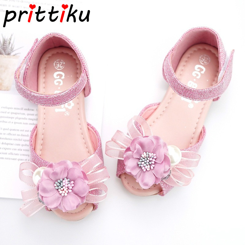 Summer 2018 Toddler Girl PU Glitter Faux Pearl Flower Sandals Little Kid Pink Fashion Flats Big Children Princess Dress Shoes ems dhl free shipping toddler little girl s 2017 princess ruffles layers sleeveless lace dress summer style suspender