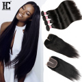8A Brazilian Straight Hair With Closure HC Hair Company With Closure Mink Brazilian Virgin Hair Straight 4 Bundles With Closure