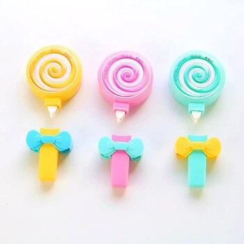 Kawaii imprensa tipo fita de correção decorativa bonito arco-íris pirulito forma para crianças meninas dos desenhos animados diário papelaria escola fornecimento