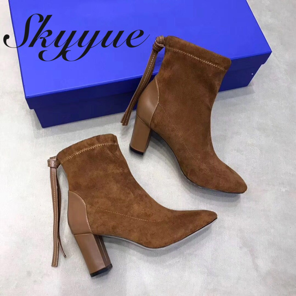 SKYYUE New Genuine Leather Khaki Fringe Gladiator Ankle Boots Pointed Toe Zip Side Women Boots Chunky Heel Sheos Women skyyue new genuine leather pointed toe women boots zip side thin high heel ankle boots shoes women