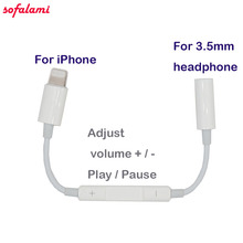 Cell Phone Multi Adjust volume Play Pause wire control adapter to 3.5mm Aux Headphone Jack Audio For iPhone 7 8 Plus ios 10.3 11