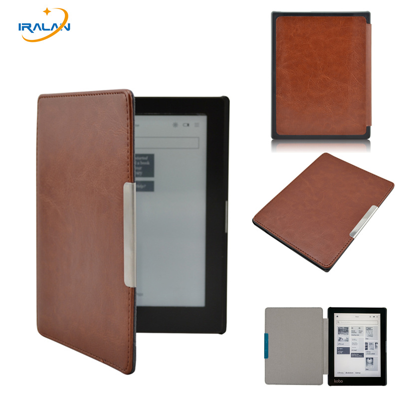 Hot Tablet Magnetic slim Leather E-book Case For 2013 new kobo aura 6 (non HD) 6.0 inch eReader Drop Cover free Shipping+stylus ultra slim pu leather cover case with magnet closure for kobo glo 6 ereader