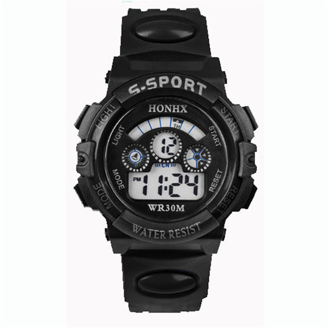 2018 Waterproof Children Boy Digital LED Quartz Alarm Date Sports Wrist Watch re
